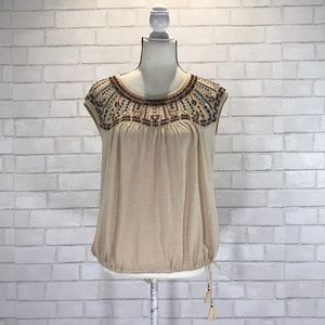 f9cebe0aa41c Anthropologie Tops   Akemi Kin Embroidered Cap Sleeve Tassel Top Euc ...